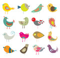 Cute birds vector designer of different shapes size and color Stock Photography