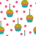 Cute birthday cupcake seamless pattern. vector illustration