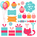 Cute birthday elements Royalty Free Stock Photo