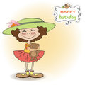 Cute birthday greeting card with girl Royalty Free Stock Photography