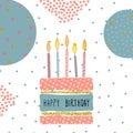 Cute Birthday greeting card handdrawn background design.