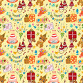 Cute birthday seamless pattern Stock Images