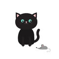 Cute black cartoon sitting cat looking at mouse. Mustache whisker. Funny character. Flat design. White background. Isolated Royalty Free Stock Photo