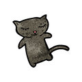 Cute black cat cartoon Stock Images