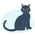 Cute black cat character funny animal domestic kitten pet feline portrait vector illustration.