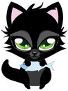 Cute black cat and fish cartoon kitten with blue on white background Royalty Free Stock Photo