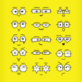 Cute black emoticons faces with geometrical eyeglasses icons set on yellow background