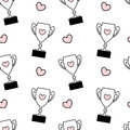Cute black white pink seamless pattern background illustration with lovely cartoon trophy with hearts