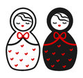 Cute black white red Matryoshka , russian traditional wooden doll illustration
