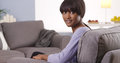 Cute black woman with bangs looking at camera Royalty Free Stock Image