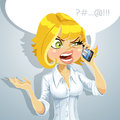 Cute blond girl talking something unpleasant Stock Image