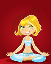 Cute blond in a yoga lotus position on red backgr Royalty Free Stock Images