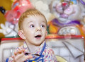 Cute blonde boy on the rides Royalty Free Stock Image