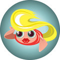 Cute blonde little fish in a circle illustration of Royalty Free Stock Images