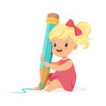 Cute blonde little girl sitting on the floor and writing with a giant blue pencil cartoon vector Illustration Royalty Free Stock Photo