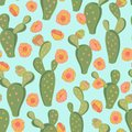 Cute blooming cactus flowers seamless vector floral pattern background. Surface pattern design for fabric, wallpaper