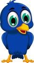 Cute blue bird cartoon posing Royalty Free Stock Photo