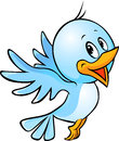 Cute blue bird flying cartoon Royalty Free Stock Photos