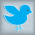 Cute blue bird on a waved background Royalty Free Stock Photos