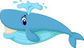 Cute blue cartoon whale smiling illustration of Royalty Free Stock Photo