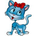 Cute blue cat kitten colored cartoon illustration vector Royalty Free Stock Images