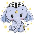 Cute Blue Elephant isolated on a white background Royalty Free Stock Photo