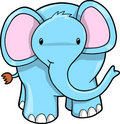 Cute Blue Elephant Vector Royalty Free Stock Photo