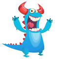 Cute blue monster cartoon scares with hands rises. Royalty Free Stock Photo