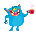 Cute blue monster having a cup of coffee in the morning. Vector monster troll character