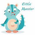 Cute blue monster with muffin in stomach