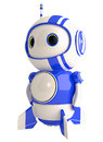 Cute Blue Robot with blue stripes Royalty Free Stock Photo
