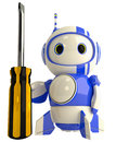 Cute Blue Robot Holding Screwdriver Stock Images
