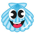 Cute blue shell cartoon illustration Royalty Free Stock Images