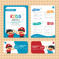 Cute Blue theme kids meal menu vector template with happy 2 boys Royalty Free Stock Photo