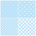 Blue tile vector pattern set with white polka dots and hearts on pastel background Royalty Free Stock Photo