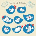 Cute blue twitter birds set in  with red hearts. Royalty Free Stock Photo