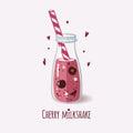 Cute bottle with cherry milkshake
