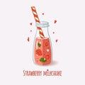 Cute bottle with strawberry milkshake