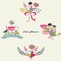 Cute bouquets with flowers birds ribbons and bows in cartoon style Royalty Free Stock Photos