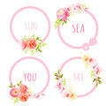 Cute bouquets and pink sea rope round vector design frame set Royalty Free Stock Photo