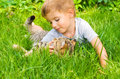 Cute boy and cat Royalty Free Stock Photo