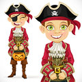 Cute boy dressed as pirate trick or treat isolated on white background Royalty Free Stock Photo