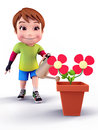 Cute boy with flowers and water spray Stock Images