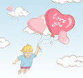 Cute boy flying whit heart-shaped balloons
