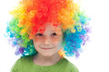Cute boy with freckles and clown hair Royalty Free Stock Photos