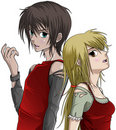 Cute boy and girl - anime style Royalty Free Stock Image