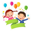 Cute boy and girl with balloon and blank ribbon