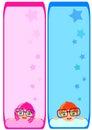 Notes template Cute boy girl cartoon vector Royalty Free Stock Photo