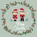 The girl and boy are wearing Christmas costume vector.