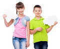 Cute boy and girl holding scraps of paper Royalty Free Stock Photo